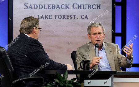 George W. Bush, Rick Warren Former President George W. Bush, right, speaks as he is joined by pastor Rick Warren during the Saddleback Civil Forum on Leadership and Service in Lake Forest, Calif