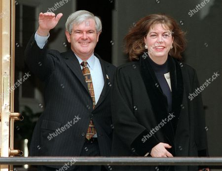 "GINGRICH In this Jan. 7, 1997 photo, House Speaker Newt Gingrich of Georgia and his wife Marianne leave their home for Capitol Hill. Dredging up a past that Newt Gingrich has worked hard to bury, the GOP presidential candidate's ex-wife says Gingrich asked for an ""open marriage"" in which he could have both a wife and a mistress. In an interview with ABC News' ""Nightline"" scheduled to air, Marianne Gingrich said she refused to go along with the proposal that she share her husband with Callista Bisek, who would later become his third wife"