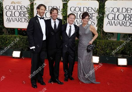 """Aaron Ralston, Christian Colson Aaron Ralston, the hiker whom the film """"127 Hours"""" is based, far left, and producer Christian Colson, second left, arrive for the Golden Globe Awards, in Beverly Hills, Calif"""