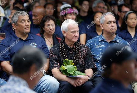 Billy Kenoi, Kirk Caldwell, Mike McCartney Hawaii Mayor Billy Kenoi, left, Honolulu Mayor Kirk Caldwell, center, and the chief of staff for the governor of Hawaii, Mike McCartney, attend ceremonies to welcome the Hawaiian voyaging canoe Hokulea in New York, . The Hokulea is sailing around the world to promote environmental sustainability and conservation. Among other activities in New York, the crew will celebrate World Oceans Day with United Nations dignitaries