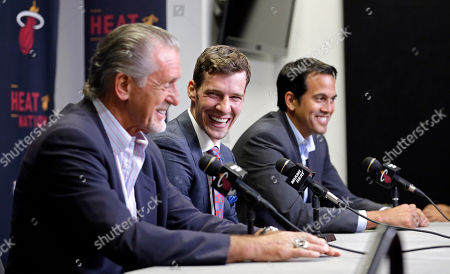 Goran Dragic, Pat Riley, Erik Spoelstra Miami Heat's Goran Dragic, center, laughs at a comment by Miami Heat president Pat Riley, left, as head coach Erik Spoelstra, right, smiles during a news conference, in Miami. Goran Dragic has signed a five-year deal with the Miami Heat