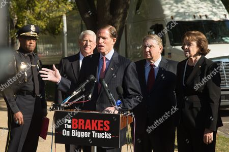 Roger Wicker, Dianne Feinstein, Richard Blumenthal, James P. Hoffa, Walter Armstrong Sen. Richard Blumenthal, D-Conn., center, accompanied by, from left, Vicksburg, Miss. Police Chief Walter Armstrong, Sen. Roger Wicker, R-Miss., International Brotherhood of Teamsters President James P. Hoffa and Sen. Dianne Feinstein, D-Calif., speaks during a news conference on the West Front of the Capitol in Washington, to discuss bipartisan opposition to a federal mandate that would allow large trucks to pull double 33-foot trailers on the nation's highways. (AP Photo/Andrew Harnik) Richard Blumenthal, D-Conn., center, accompanied by Sens. Roger Wicker, R-Miss., second from left, and Sen. Dianne Feinstein, D-Calif., right, speaks at a news conference on the West Front of the Capitol in Washington, Wednesday, Oct. 21, 2015, to discuss bipartisan opposition to a federal mandate that would allow large trucks to pull double 33-foot trailers on the nation's highways
