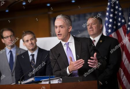 Trey Gowdy, Peter Roskam, Jim Jordan, Mike Pompeo Rep. Trey Gowdy, R-S.C., chairman of the House Select Committee on Benghazi, joined by other Republican members of the panel, discusses the release of his final report on the 2012 attacks on the U.S. consulate in Benghazi, Libya, where a violent mob killed four Americans, including Ambassador Christopher Stevens, at a news conference on Capitol Hill in Washington, . Behind Gowdy, from left, are, Rep. Peter Roskam, R-Ill., Rep. Jim Jordan, R-Ohio, and Rep. Mike Pompeo, R-Kan. Republicans on the panel accuse the Obama administration of stonewalling important documents and witnesses but Democrats say the panel's primary goal is to undermine the presidential candidacy of Hillary Clinton who was secretary of state during the attacks