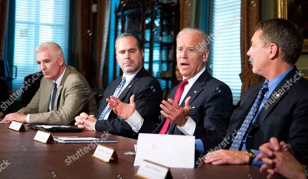 Joe Biden, Mark Curran, Jon Adler, Mike Chapman Vice President Joe Biden, second from right, meets with representatives of the law enforcement community to discuss immigration reform, in the Eisenhower Executive Office Building on the White House complex in Washington, . Others are from left; Mark Curran, Jon Adler, Biden, and Mike Chapman