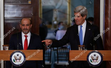 Ahmad al-Jarba, John Kerry Secretary of State John Kerry and Ahmad al-Jarba, president of Syria's main opposition bloc, arrive to speak to reporters at the State Department in Washington, . In addition to speaking about Syria, Kerry commented on the situation of kidnapped school girls in Nigeria
