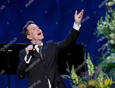 """Stock Image of Davis Gaines Davis Gaines sings """"Music of the Night"""" from """"The Phantom of the Opera"""" at a memorial service, in Los Angeles for Los Angeles Lakers owner Jerry Buss, who died Monday"""