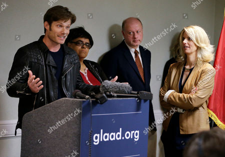 "Chris Carmack, Sarah Kate Ellis Actor Chris Carmack, from the ABC series ""Nashville,"" left, speaks at a news conference calling on the country music industry to take a stand against proposed laws in Tennessee that LGBT activists see as discriminatory, as Sarah Kate Ellis, left, president and CEO of GLAAD, looks, in Nashville, Tenn. While a few artists and songwriters have spoken out, many music businesses in Nashville have remained quiet on the issue thus far"