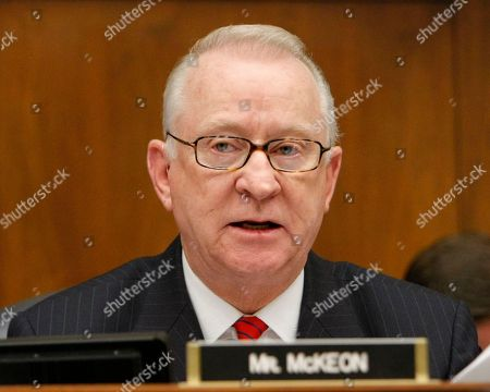 """Howard McKeon The House Armed Services Committee's ranking Republican Rep. Howard McKeon, R-Calif., raised the issue of President Obama's plan to repeal of the U.S. military's """"don't ask, don't tell"""" policy during Defense Secretary Robert Gates' testimony about the Pentagon's budget needs, on Capitol Hill in Washington"""