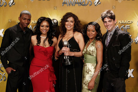 Mishon Ratliff, Erica Hubbard, Kathleen McGhee-Anderson, Rhyon Brown,Robert Adamson From left, Actors Mishon Ratliff, Erica Hubbard, producer Kathleen McGhee-Anderson, Rhyon Brown and Robert Adamson of 'Lincoln Heights' pose with the Outstanding Drama Series at the 41st NAACP Image Awards, in Los Angeles