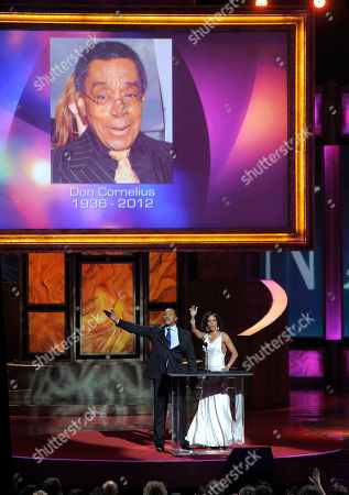 Stock Picture of Russell Hornsby, Holly Robinson Peete Russell Hornsby, left, and Holly Robinson Peete pay tribute to Don Cornelius onstage at the 43rd NAACP Image Awards, in Los Angeles
