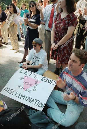 "Leah Spaulding, Rob Noga UCLA student Leah Spaulding, left, and former UCLA student Rob Noga, right, attend the ""National Coming Out Day"" rally held on the UCLA campus, Los Angeles, Calif. Speakers of the day included David Mixner, former campaign manager for President Bill Clinton, and actress Amanda Bearse from the television show, ""Married with Children"
