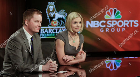 Arlo White, left, and Rebecca Lowe listen during a joint NBC and English Premier League (EPL) press conference on in New York. All 380 EPL games will be televised live by NBC and its networks next season as part of a multiyear contract. White will be the lead play-by-play voice during coverage and Lowe host the telecasts beginning Aug. 17