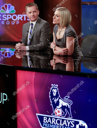 Stock Image of Arlo White, left, listens as Rebecca Lowe speaks during a joint NBC and English Premier League (EPL) press conference on in New York. All 380 EPL games will be televised live by NBC and its networks next season as part of a multiyear contract. White will be the lead play-by-play voice during coverage and Lowe host the telecasts beginning Aug. 17