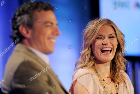 """Emily Rose, Mark Stern Emily Rose, right, star of the new SyFy show """"Haven,"""" laughs at a comment by Mark Stern, executive vice president of original content for the channel, during the NBC Universal 2010 Summer Press Day in Pasadena, Calif"""