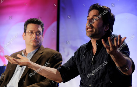 """Greg Giraldo, Andy Kindler Greg Giraldo, right, and Andy Kindler, judges on the NBC show """"Last Comic Standing,"""" participate in a panel discussion during the NBC Universal 2010 Summer Press Day in Pasadena, Calif"""