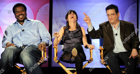 """Craig Robinson, Natasha Leggero, Andy Kindler Craig Robinson, left, host of the NBC show """"Last Comic Standing,"""" laughs with show judges Natasha Leggero, center, and Andy Kindler during a panel discussion on the show at the NBC Universal 2010 Summer Press Day in Pasadena, Calif"""