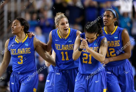 Danielle Parker, Elena Delle Donne, Trumae Lucas, Jaquetta May Delaware's Jaquetta May, from left, Elena Delle Donne, Trumae Lucas and Danielle Parker react during a break in play in the second half of a second-round game against North Carolina in the women's NCAA college basketball tournament in Newark, Del