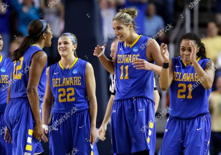 Stock Image of Danielle Parker, Lauren Carra, Elena Delle Donne, Trumae Lucas Delaware's Danielle Parker, from left, Lauren Carra, Elena Delle Donne and Trumae Lucas react during a break in play in the second half of a second-round game against North Carolina in the women's NCAA college basketball tournament in Newark, Del