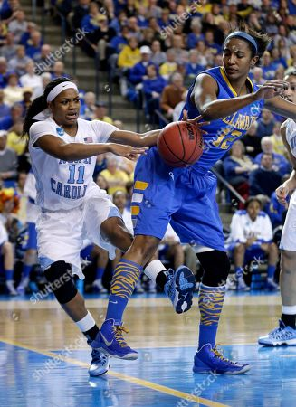 Stock Photo of Brittany Rountree, Danielle Parker North Carolina guard Brittany Rountree, left, tries to steal the ball from Delaware forward Danielle Parker as she falls out of bounds during the second half of a second-round game in the women's NCAA college basketball tournament in Newark, Del