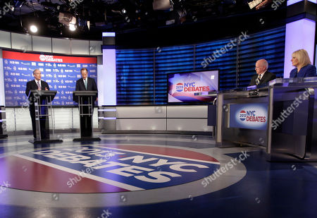 Eliot Spitzer, Scott Stringer Manhattan borough president Scott Stringer, left, and former New York Gov. Eliot Spitzer, second from left, both Democrats, participate in a primary debate for New York City comptroller in the WCBS-TV studios, in New York
