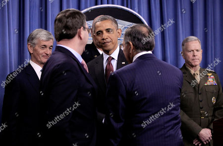 Barack Obama, Leon Panetta, James A. Winnefeld Jr., John McHugh, James F. Amos President Barack Obama, center, shakes hand with Vice Chairman of the Joint Chiefs of Staff Adm. James A. Winnefeld Jr., left, and Sec. of Defense Leon Panetta, right, at a news briefing on the defense strategic guidance at the Pentagon, Thursday, Jan., 5, 2012. Looking on are Sec. of the Army John McHugh, far left, and Commandant of the Marine Corps Gen. James F. Amos, far right