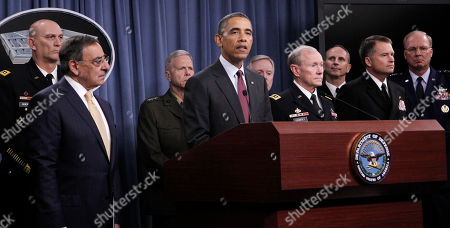 Barack Obama, Leon Panetta, Raymond T. Odierno, James F. Amos, Martin E. Dempsey, Ray Mabus, James A. Winnefeld Jr., Jonathan W. Greenert, Craig R. McKinley President Barack Obama listens during a news conference at the Pentagon, on defense strategic guidance. From left are, Army Chief of Staff Gen. Raymond T. Odierno, Defense Secretary Leon Panetta, Marine Corps Commandant Gen. James F. Amos, the president, Navy Secretary Ray Mabus, Joint Chiefs Chairman Gen. Martin E. Dempsey, Chief of Naval Operations Adm. Jonathan W. Greenert, Joint Chiefs Vice Chairman Adm. James A. Winnefeld Jr., National Guard Bureau Chief Gen. Craig R. McKinley