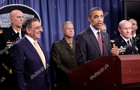 Barack Obama, Leon Panetta, Raymond T. Odierno, James F. Amos, Martin E. Dempsey, Ray Mabus, James A. Winnefeld Jr., Jonathan W. Greenert President Barack Obama speaks during a news briefing at the Pentagon, to discuss defense strategic guidance. From left are, Army Chief of Staff Gen. Raymond T. Odierno, Defense Secretary Leon Panetta, Marine Corps Commandant Gen. James F. Amos, Navy Secretary Ray Mabus, Joint Chiefs Chairman Gen. Martin E. Dempsey, and Chief of Naval Operations Adm. Jonathan W. Greenert