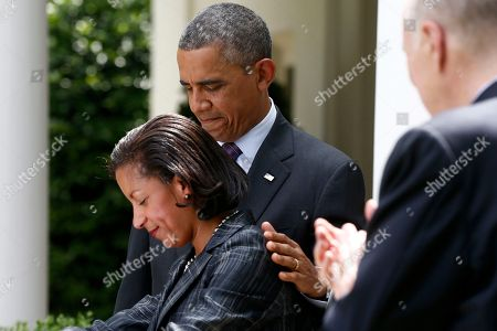 Barack Obama, Susan Rice, Tom Donilon President Barack Obama standing with then-United Nations Ambassador Susan Rice, his choice to be his next National Security Adviser, as current National Security Adviser Tom Donilon, right, applauds in the Rose Garden at the White House in Washington. Once seemingly destined to become secretary of state, Rice now holds a lower profile job at the White House, juggling one global crises after another for Obama and trying to insure that his broad list of foreign policy priorities doesn't fall by the wayside in the widening storm of problems overseas