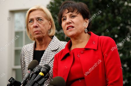 Stock Image of Penny Pritzker, Anna Burger Penny Pritzker, Chairman & Founder of Pritzker Realty Group, right, and Anna Burger, former chair of Change to Win, speak to reporters after President Barack Obama met with President's Economic Recovery Advisory Board (PERAB) at the White House in Washington