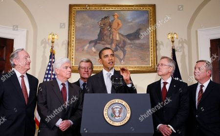 Barack Obama, Christopher Dodd, Max Baucus, Harry Reid, Richard Durbin, Tom Harkin President Barack Obama makes a statement on health care reform after meeting with Senators at the White House in Washington. From left are, Senate Health, Education, Labor and Pensions Committee Chairman Sen. Tom Harkin, D-Iowa; Senate Banking Committee Chairman Sen. Christopher Dodd, D-Conn.; Senate Finance Committee Chairman Sen. Max Baucus, D-Mont.; the president; Senate Majority Leader Harry Reid of Nev.; and Senate Majority Whip Richard Durbin of Ill