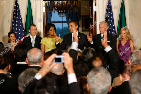 Stock Picture of Barack Obama, Michelle Obama, Joe Biden, Jill Biden, Arturo Sarukhan, Veronica Valenca-Sarukhan President Barack Obama makes remarks during a Cinco de Mayo celebration in the Grand Foyer of the White House in Washington, . Left to right are Veronica Valenca-Sarukhan, Arturo Sarukhan, Mexican Ambassador to the U.S., first lady Michelle Obama, President Obama, Vice President Joe Biden, and Biden's wife, Dr. Jill Biden