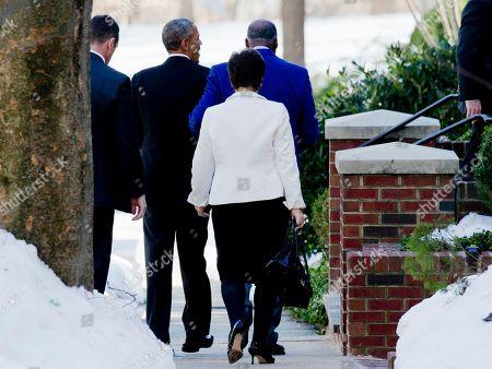 Barack Obama, Valerie Jarrett, Vernon Jordan President Barack Obama, followed by White House Senior Advisor Valerie Jarrett, walk with Vernon Jordan, right, to his house in Washington, . The President is attending the Alfalfa Luncheon at the home of Vernon Jordan