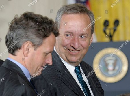 Lawrence Summers, Timothy Geithner National Economic Council Director Lawrence Summers, right, talks with Treasury Secretary Timothy Geithner, left, before the start of an event with President Barack Obama announcing that Chief of Staff Rahm Emanuel is stepping down to run for Mayor of Chicago, in the East Room of the White House in Washington