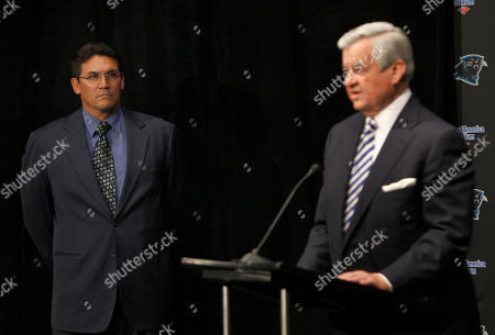 Ron Rivera, Jerry Richardson Carolina Panthers new head coach Ron Rivera, left, listens as he is introduced by team owner Jerry Richardson, right, during a news conference in Charlotte, N.C