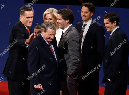 Mitt Romney, Jim Lehrer, Ann Romney, Matt Romney, Tagg Romney, Craig Romney Republican presidential candidate, former Massachusetts Gov. Mitt Romney patting moderator Jim Lehrer on the back at the end of the first presidential debate with President Barack Obama in Denver. When it comes to debates, Mitt Romney loves the rules. The eyes of millions of voters upon him, the Republican candidate is quick to poke holes in his rival's arguments. But he's just as ready to take the moderator to task when he believes the predetermined ground rules have been breached. Also pictured, from right to left: Matt Romney, Craig Romney, Tagg Romney, Ann Romney