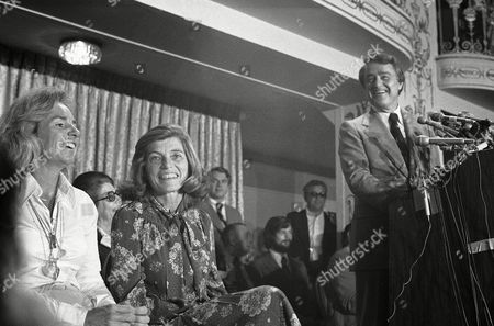 Sargent Shriver, Eunice Kennedy Shriver, Ethel Kennedy Sargent Shriver looks over towards his wife, Eunice, center, and his sister-in-law, Mrs. Ethel Kennedy, left, as he announces his candidacy for the Democratic presidential nomination in Washington, . Mrs. Kennedy is the widow of assassinated Sen. Robert F. Kennedy