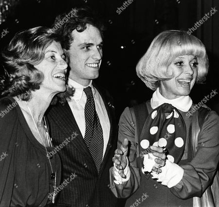Actress Carol Channing, right, gestures as she arrives at a Boston Hotel, with Eunice Shriver, left, and Joseph Kennedy, center, son of the late Sen. Robert F. Kennedy, for a fund raising tea for Democratic presidential candidate Sargent Shriver