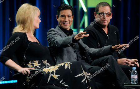 """Lisa Gregorisch-Dempsey, Mario Lopez, Mike Fleiss From left, Lisa Gregorisch-Dempsey, Mario Lopez and Mike Fleiss, executive producers of the CW reality television series """"H8R,"""" take part in a panel discussion on the show at the CW Showtime summer press tour in Beverly Hills, Calif"""