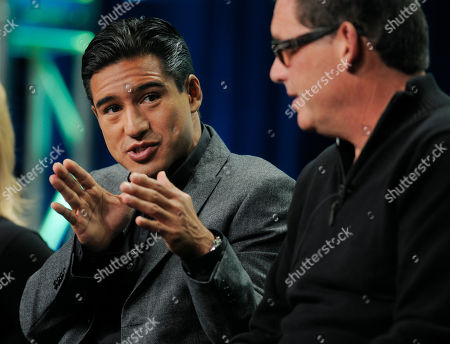 """Mario Lopez, Mike Fleiss Mario Lopez, left, and Mike Fleiss, executive producers of the CW reality series """"H8R,"""" take part in a panel discussion on the show at the CW Showtime summer press tour in Beverly Hills, Calif"""