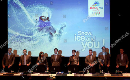 Jean-Luc Rigaut, Jean Claude Killy, Guy Drut, Charles Beigbeder, Denis Masseglia, Jean-Pierre Vidal, Pernilla Wiberg, Chantal Jouanno Jean-Luc Rigaut, Jean Claude Killy, Guy Drut, Charles Beigbeder, Denis Masseglia, Jean-Pierre Vidal, Pernilla Wiberg and Chantal Jouanno arrive for their Annecy 2018 Winter Olympic presentation at the headquarters of the International Olympic Committee (IOC) in Lausanne, Switzerland, . Annecy, France, is competing against Munich, Germany and Pyeongchang, South Korea for the Olympic Winter Games in 2018