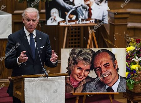 Joe Biden Taken in Sioux Falls, S.D., Vice President Joe Biden speaks at a prayer service for former Democratic U.S. senator and three-time presidential candidate George McGovern at the First United Methodist Church. The death of the statesman at age 90 was voted the fourth most important news story in the AP's annual survey of its South Dakota member editors and staff