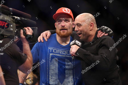 Pat Healy, Joe Rogan Pat Healy is interviewed by Joe Rogan after his UFC 159 Mixed Martial Arts win against Jim Miller in Newark, NJ, Saturday, April 27,2013. Healy won via third round submission via choke