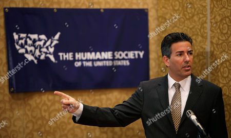 Humane Society president and chief executive officer Wayne Pacelle speaks during a news conference, in Des Moines, Iowa. The Humane Society of the United States continued its push Wednesday to get egg-laying hens out of cramped cages, releasing undercover videos it claims show inhumane conditions. The videos were secretly made at four egg farms in Iowa, the nation's top egg producer