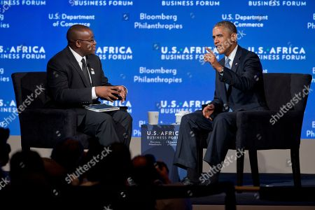 Barack Obama, Takunda Ralph Michael Chingonzo President Barack Obama speaks with Takunda Ralph Michael Chingonzo, 21, an entrepreneur from Zimbabwe, at the closing session of the U.S.-Africa Business Forum, during the U.S.-Africa Leaders Summit, at the Mandarin Oriental Hotel in Washington. Nearly 50 African heads of state are gathering in Washington for an unprecedented summit