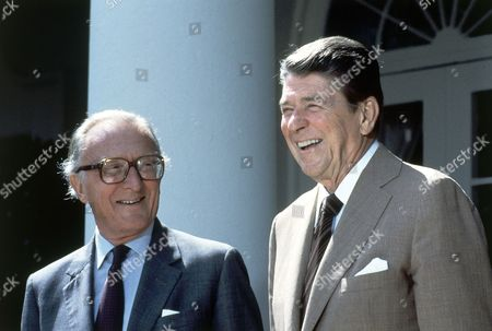 Ronald Reagan; Lord Carrington; Peter Carrington US President Ronald Reagan and NATO Secretary General Lord Carrington, left, pose for photographers in the Rose Garden prior to talks at the White House on in Washington, D.C., United States