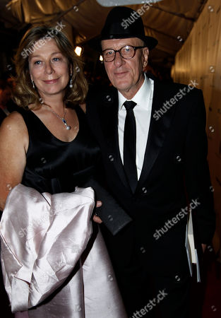 Geoffrey Rush and his wife Jane Menelaus arrive at the Weinstein Company Golden Globes after party, in Beverly Hills, Calif