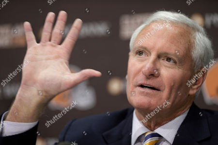 Jimmy Haslam Cleveland Browns owner Jimmy Haslam answers questions during a news conference, in Berea, Ohio. Haslam announced Tuesday that CEO Joe Banner will step down in the next two months and general manager Michael Lombardi is leaving the team. Haslam added that president Alec Scheiner will continue to be in charge of the organization's business operations