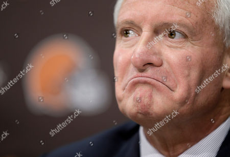 Jimmy Haslam Cleveland Browns owner Jimmy Haslam listens to a question during a news conference, in Berea, Ohio. Haslam announced Tuesday that CEO Joe Banner will step down in the next two months and general manager Michael Lombardi is leaving the team. Haslam also said assistant GM Ray Farmer, who was pursued by Miami to be the Dolphins' GM this winter, has been promoted to general managerand will immediately take the over the team's football operations and lead the Browns during free agency and draft