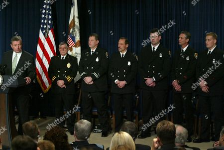 HOSEK Attorney General John Ashcroft, far left, speaks at the Public Safety Officer Medal of Valor Awards ceremony with firefighters, from left to right: Ronald Kennett, Richard Klein, Robert Borer, Mike Wright, Guy Jones, and Jeremy Hosek; all from Lincoln, Nebraska, with the exception of Jones, who is from Crete, Nebraska; at the Eisenhower Executive Office Building in Washington . Ten public safety officers were presented the highest national award for valor by a public safety officer