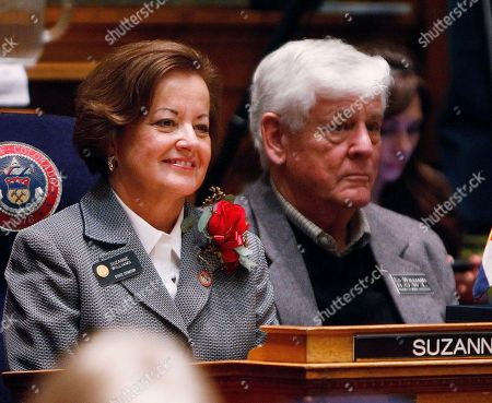 Stock Photo of Suzanne Williams, Ed Williams State Senator Suzanne Williams, D-Aurora, left, sits with her husband, Ed, in the Senate Chambers during the opening session of the Legislature at the Capitol in Denver on . Senate Democrats announced Monday that Williams would no longer be considered for the job of the Chair of the Senate Transportation Committee because of her involvement in a fatal crash in Texas in December that killed a 30-year-old pregnant woman